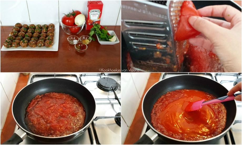 Gehaktballetjes in een tomatensausje